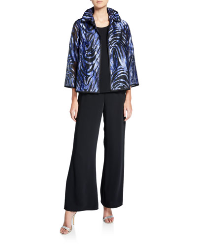 Plus Size Devore Velvet Jacket with Ruched Collar and Matching Items