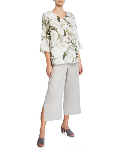 Havana Lily-Print 3/4-Sleeve Linen Top  Plus Size and Matching Items
