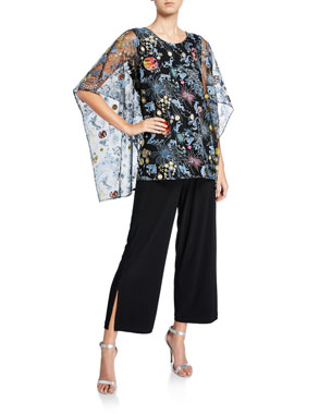 17391e2543b Caroline Rose Plus Size Zodiac Embroidery Lined Caftan Plus Size Wide-Leg  Ankle Pants