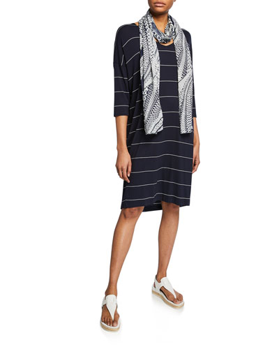 Nebine Striped V-Neck 3/4-Sleeve Jersey Dress and Matching Items