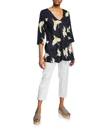 Kata Crane-Print V-Neck 3/4-Sleeve Shantung Top and Matching Items