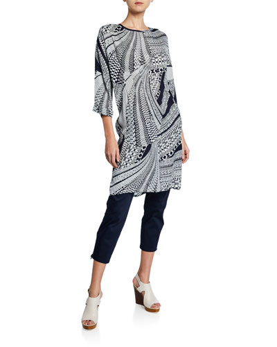 Nan Antic Greek Print 3/4-Sleeve Tunic Dress and Matching Items