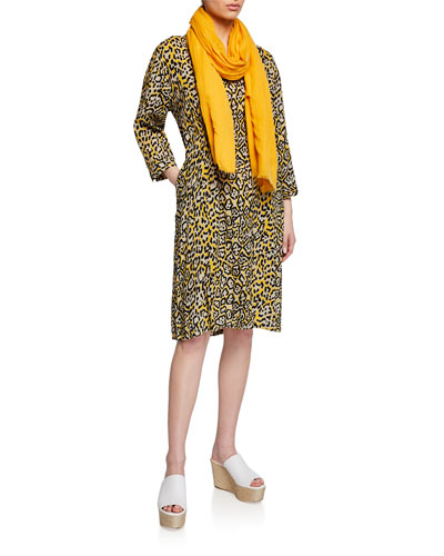 Nancy Leopard-Print V-Neck 3/4-Sleeve Dress and Matching Items