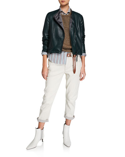 Collarless Asymmetric Zip  Leather Jacket and Matching Items