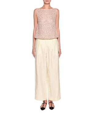 eeba39aa2d9 Emporio Armani Embellished Knit Shell Viscose Linen Pants
