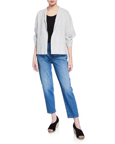 Ticking Stripe 3/4-Sleeve Boxy Organic Linen/Cotton Jacket and Matching Items