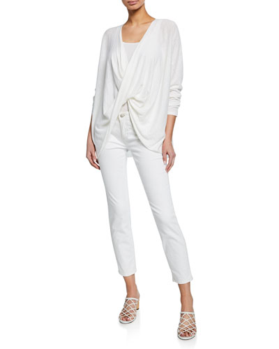 Long-Sleeve Twist Front Organic Linen/Cotton Top and Matching Items