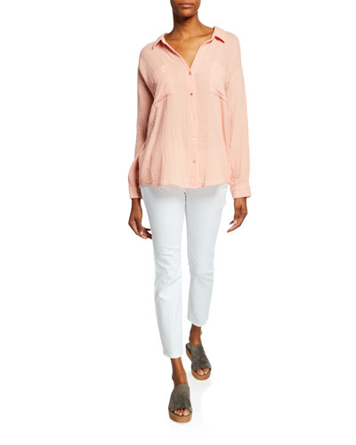 Spread-Collar Button-Down Long-Sleeve Cotton Gauze Top and Matching Items