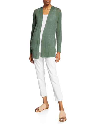 Organic Linen/Cotton Simple Open-Front Cardigan and Matching Items