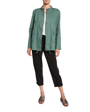 d3c536941e4 Eileen Fisher Plus Size Soft Organic Cotton Twill Jacket with Stand Collar  Plus Size MicroTencel Ribbed