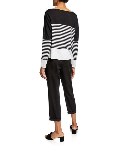 Eileen Fisher Petite Block Stripe Boat-Neck Organic Linen/Cotton Sweater