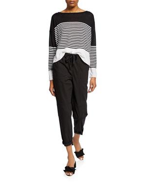 d0796434cb64 Eileen Fisher Plus Size Colorblock Block Stripe Organic Linen/Cotton  Sweater Plus Size Drawstring Organic