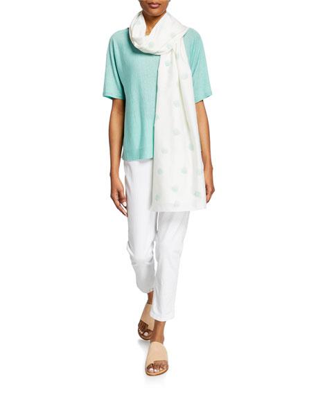 Eileen Fisher Petite Bateau-Neck Elbow-Sleeve Organic Linen/Cotton Sweater