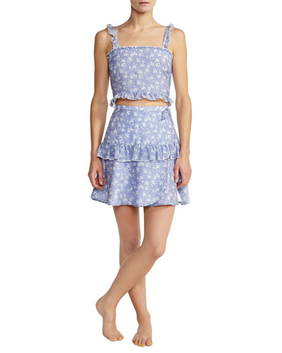 Romy Smocked Ruffle Floral Crop Top and Matching Items