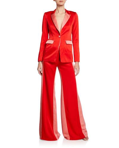 Nevra Satin Single-Button Blazer and Matching Items