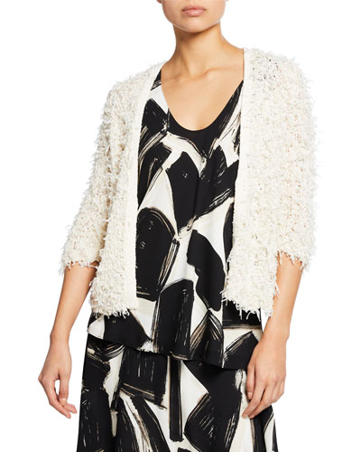 Plus Size Plush Party 3/4-Sleeve Fuzzy Cardigan and Matching Items