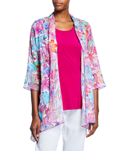 Plus Size Floral Frenzy Burnout Side-Fall Open-Front Cardigan and Matching Items