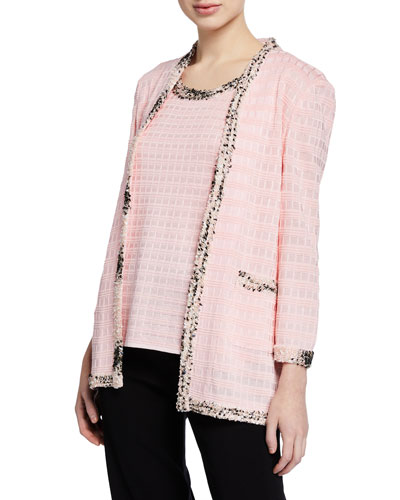 Plus Size Textured Jacket with Tweed Trim and Matching Items