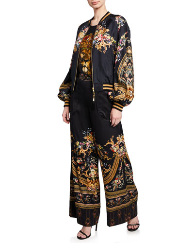 Blouson-Sleeve Silk Bomber Jacket and Matching Items