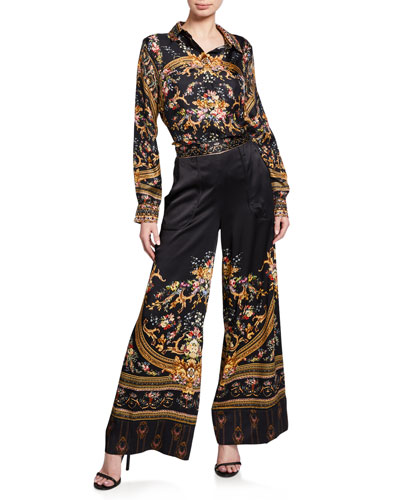 Slim Fit Printed Silk Long-Sleeve Shirt and Matching Items