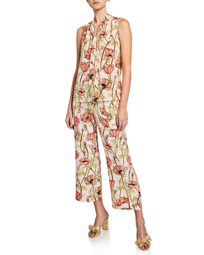 Floral-Printed Sleeveless Tie-Neck Bow Blouse and Matching Items