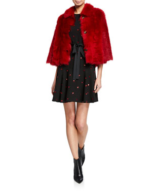 e0a9a6b149e REDValentino Reversible Shearling Scallop Edge Coat Sequin Heart  Short-Sleeve Dress with Embroidered Heart Patch