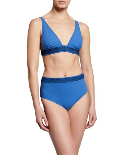 Noa Deep-V Solid Bikini Top w/ Smocking and Matching Items