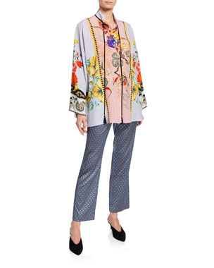 472ceb096710d Etro Geometric Jacquard Crop Trousers Placed Rose Floral Tie-Neck Tunic