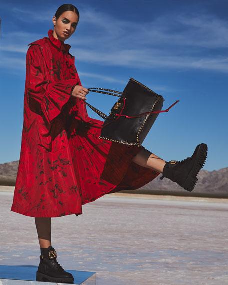 Valentino Plisse-Cuffed Faille Coat