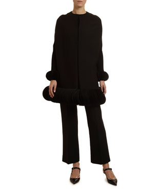 b2d6e5707dbd Valentino Disc-Cuff Crewneck Sweater Cropped Crepe Trousers