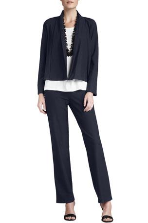 Eileen Fisher Washable-Stretch Crepe Short Jacket Stretch Organic Cotton Tee Washable-Crepe Straight-Leg Pants