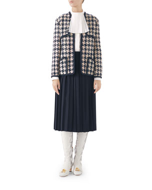 3e7df4f75aefc Gucci Houndstooth Tweed Jacket Heavy Fresh Poplin Shirt Leather-Belted  Sable Wool Pleated Skirt
