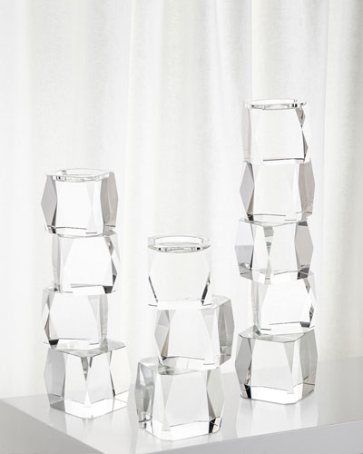 Large Crystal Cubist Candleholder  and Matching Items