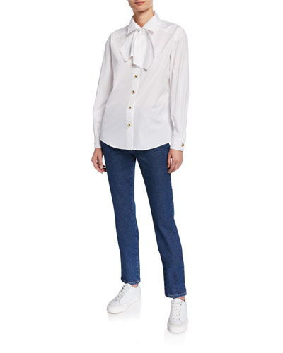 Bow Neck Button-Front Cotton Blouse and Matching Items
