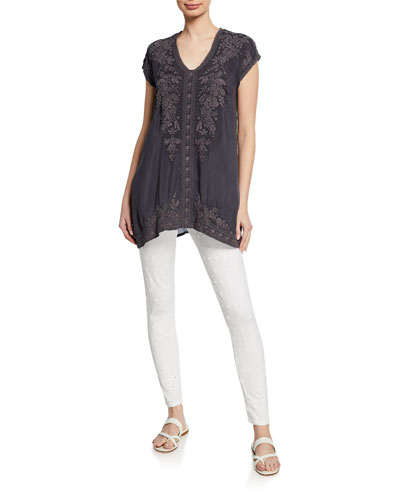 Heidi Short-Sleeve Georgette Tunic w/ Tonal Embroidery and Matching Items