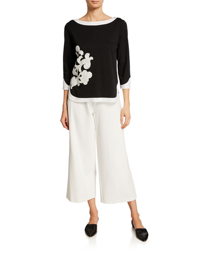 Colorblock 3/4 Sleeve Floral Applique Top and Matching Items