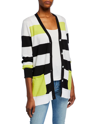 Striped Button-Front Cotton Cardigan w/ Pockets and Matching Items