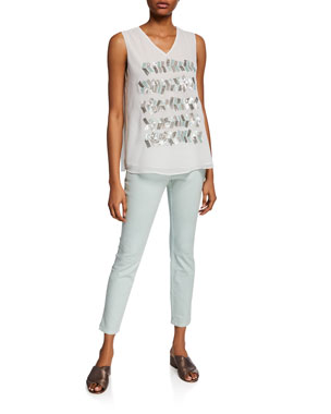 76bb1c16f991 NIC+ZOE Tropic Party Tank with Sequin Detail Bay Breeze Straight-Leg Denim  Ankle