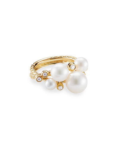 18k Gold Pearl & Diamond Cluster Ring  Size 7