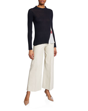 bf2c7690e4723 Rosetta Getty Godet-Panel Ribbed Sweater Leather Straight-Leg Trousers