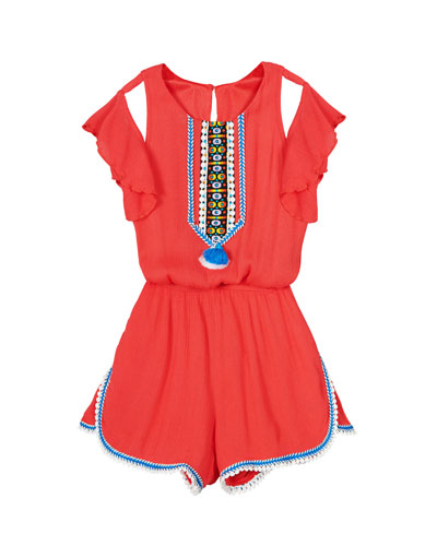 Woven Cutout Romper w/ Tassels  Size 4-6  and Matching Items
