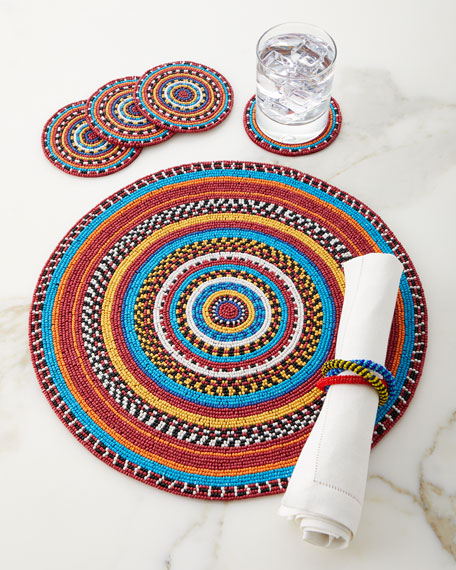 Von Gern Home Glass Beaded Coasters, Set of 4