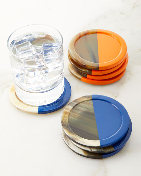 Von Gern Home Horn Lacquered Coasters, Set of 4