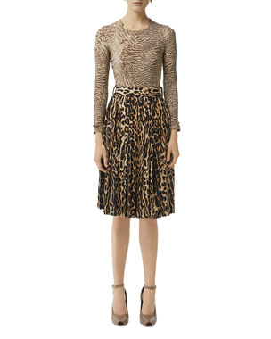 ecfb66c6022ff Burberry Animal Print Long-Sleeve Square Neck Top Leopard Print Stretch  Silk Pleated Skirt