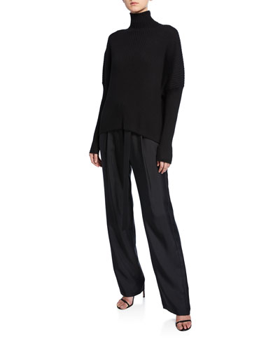 Belted High-Waist Silk Twill Pants  Black and Matching Items