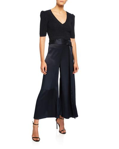 High-Waist Slit Leg Silk Culottes and Matching Items