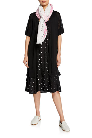 Masai Ilensa Short-Sleeve Semisheer Cardigan Opal Polka-Dot Sleeveless Dress