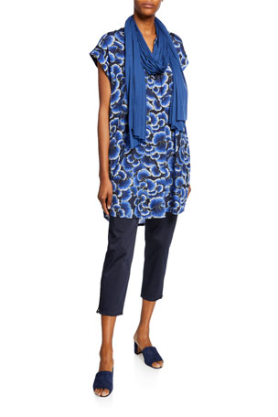 Masai Hadeen Printed A-Shape Short-Sleeve Tunic Padme Stretch-Cotton Slim-Fit Cropped Trousers