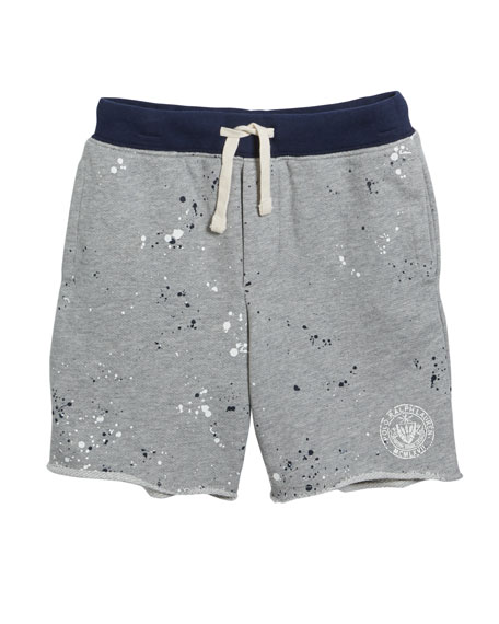 Ralph Lauren Childrenswear Paint Splatter Drawstring Sweat Shorts, Size 5-7
