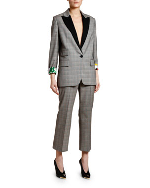 b9b00266b8d7 Stella McCartney Prince of Wales Tuxedo Jacket with Lucy in the Sky Lining  Checked Cropped Trousers